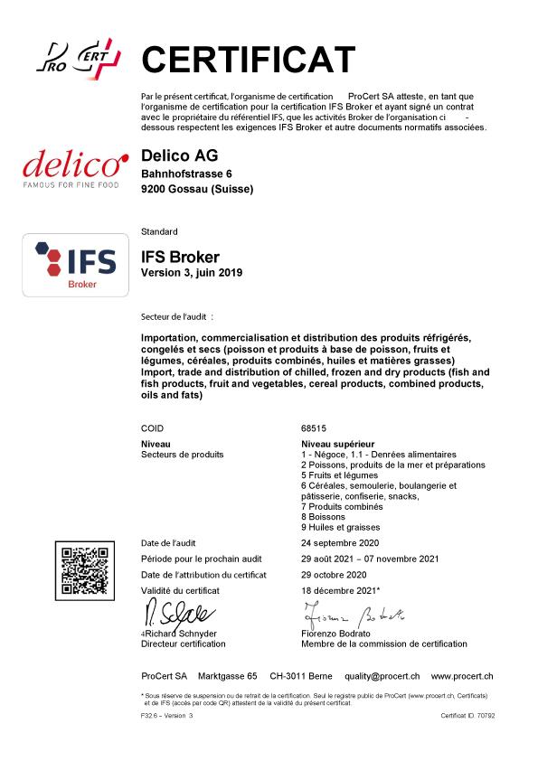 Ifs Broker Certificat Delico Ag 2020 F