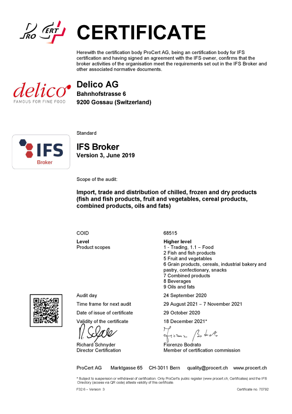 Ifs Broker Certificate Delico Ag 2020 E